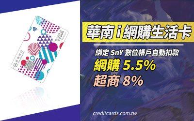 【網購好卡】華南i網購生活卡,網購/行動支付最高 5.5%、超商 8% 現金回饋|信用卡 現金回饋 網路購物