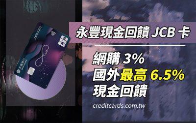 【日韓好卡】永豐現金回饋 JCB 卡,最高國外消費 6.5% 回饋,四大通路 3% 現金回饋 信用卡 現金回饋 網路購物