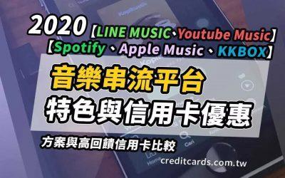 【串流音樂比較】Spotify、Apple Music、KKBOX、LINE MUSIC、Youtube Music 特色與信用卡優惠完整比較|串流音樂 信用卡 現金回饋