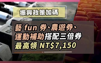 農遊券/藝fun券/動滋券加碼,搭三倍券最高享 NT$7,150 補助|信用卡 特殊優惠