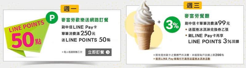 中信 LINE Pay 卡麥當勞回饋