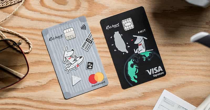 左為台新 FlyGo 灰狗卡、右為 GoGo 黑狗卡部分卡面