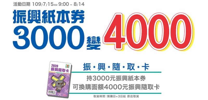 振興紙本券 NT$3,000 可兌換 7-11 價值 NT$4,000 的振興隨取卡