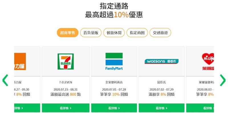 LINE Pay Money 指定超商、百貨、餐飲、商圈、交通消費享最高超過 10% 回饋