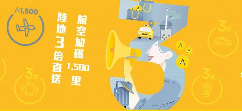 亞洲萬里通於任一合作夥伴單筆消費或轉哩 10 哩以上,就享哩程 3 倍回饋