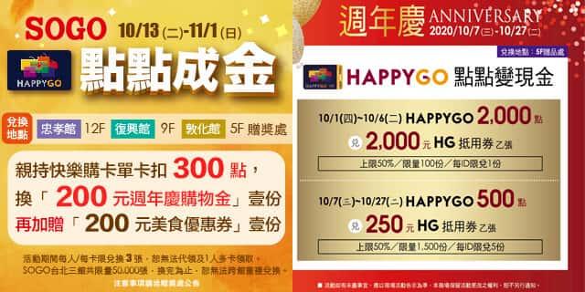 HappyGo 週年慶兌換享最高 300 點換價值 NT$400 購物金