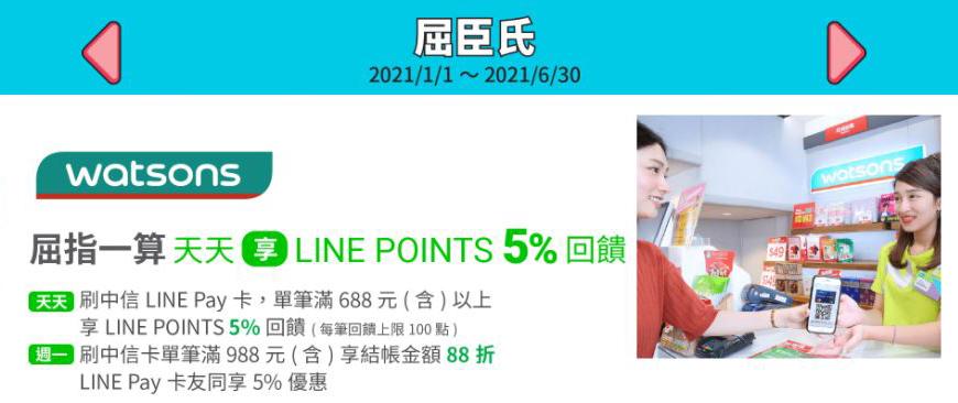 屈臣氏刷 LINE Pay 單筆消費滿額享最高 88 折與 5% 回饋