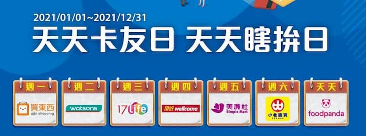 新光信用卡每週不同天提供指定品牌回饋