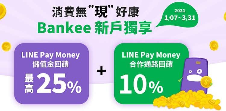 透過指定連結申請 Bankee 數位帳戶並完成指定條件,最高享消費 25% 回饋