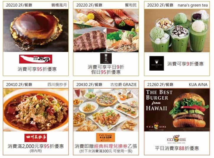 永豐三井 OUTLET 聯名卡享館內餐廳消費折扣,多半為 9~95 折
