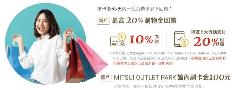 永豐三井 OUTLET 聯名卡新戶享最高 20% 回饋、舊戶享 NT$100 館內購物金