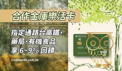 2021 合作金庫樂活卡,台高鐵/藥局/有機 6~9% 回饋|信用卡