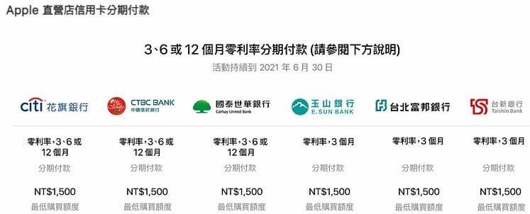 Apple 直營店提供銀行卡單筆滿額最高 12 期 0 利率