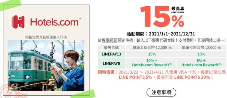 Hotels.com 用中信 LINE Pay 卡單筆消費滿額享 15% 回饋