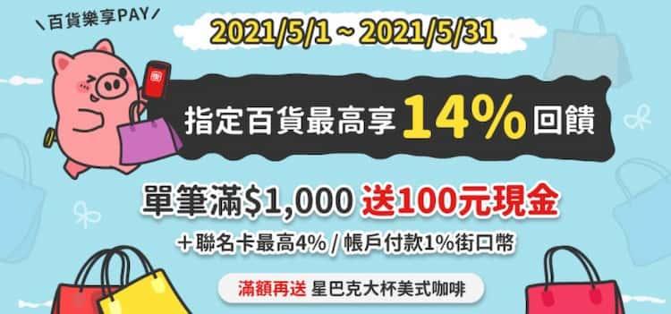 使用街口支付於指定百貨消費,單筆滿額最高享 10% 回饋