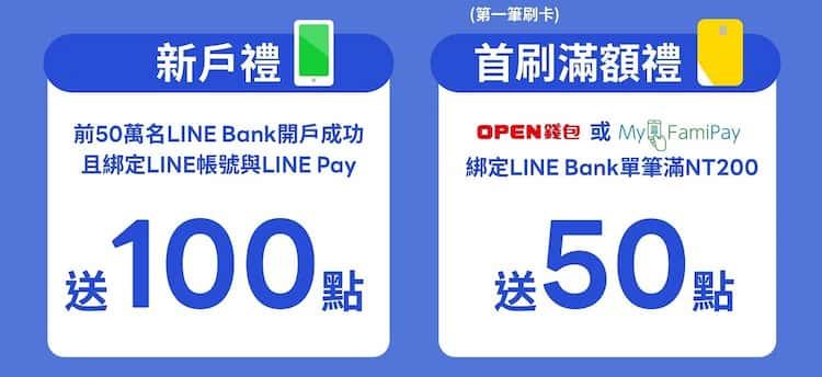 前 50 萬名 LINE Bank 開戶成功享 100 點,首刷滿額再享 50 點回饋