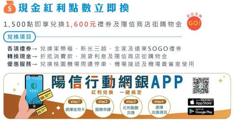 陽信現金紅利點數可兌換項目一覽,1,500 點可兌換加值 NT$1,600 禮券