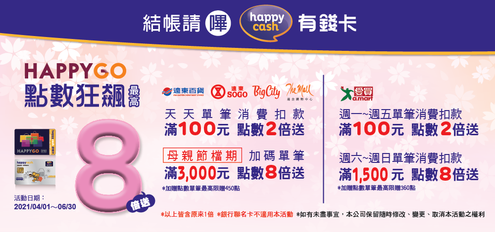 happycash 有錢卡刷指定通路滿額最高紅利 8 倍送