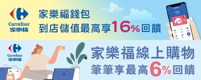 一銀信用卡刷家樂福錢包儲值、或於家樂福線上購物消費,登錄後享最高 6% 回饋