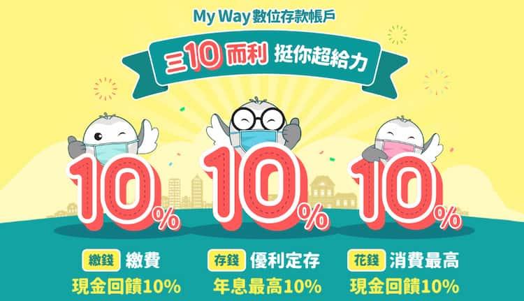中信 My Way 數位帳戶於 app 中繳費,不論新舊戶享最高 10% 回饋