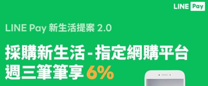 使用 LINE Pay Money 於週三指定網購平台付款,享最高 6% 回饋