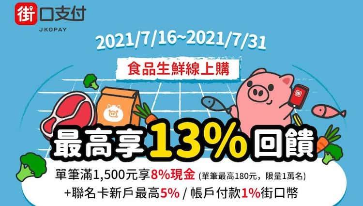 街口支付於家樂福線上購物單筆消費滿額,享 8% 現金回饋