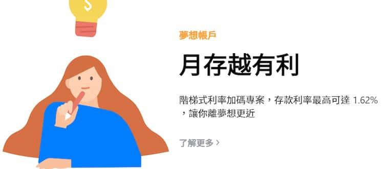 INE Bank 夢想銀行,可自訂目標金額與存期,完成享優惠利率