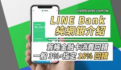 LINE Bank 快點卡消費3.5%/外送超商網購18%/申辦贈300點回饋優惠 數位帳戶