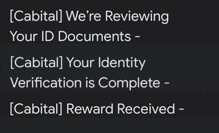 註冊完後會收到的三封信:收到申請、通過申請、獲得獎勵