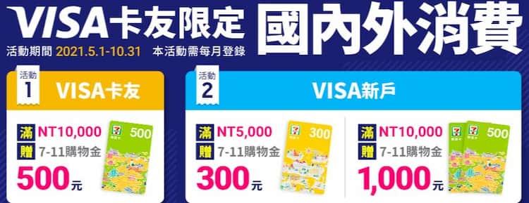VISA 卡國內外消費,登錄後滿額最高贈 7-ELEVEN NT$1,000 購物金