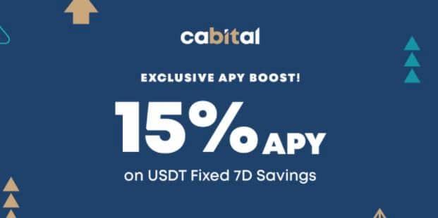 Cabital 透過信用卡社專屬連結申請,最高享首筆 USDT 7 天定存 15% 年化
