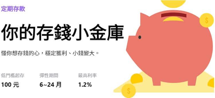LINE Bank NT$100~100 萬定存享最高 1.2% 年利率