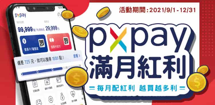 PX Pay 單月累積消費滿額,享最高額外 2.5% 等值福利點回饋