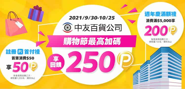 中友百貨使用 Pi 拍錢包付款最高享 250 P 幣回饋