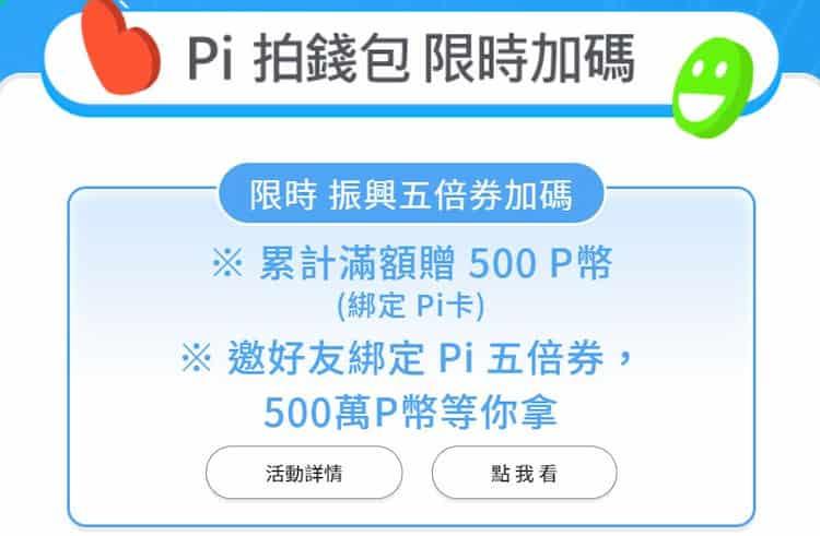 綁定五倍券的 Pi 拍錢包累積消費滿 NT$20,000,再贈 500 P 幣回饋